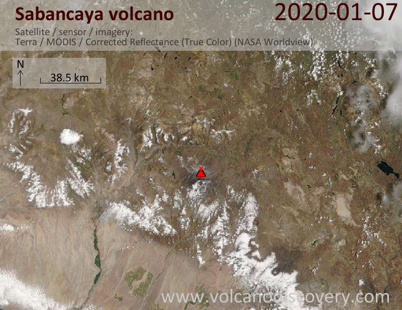 Satellite image of Sabancaya volcano on  7 Jan 2020