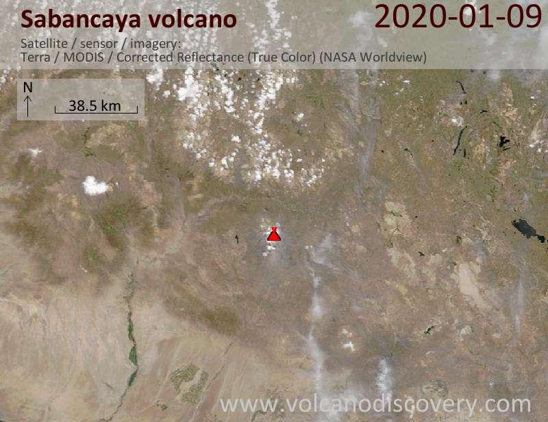 Satellitenbild des Sabancaya Vulkans am  9 Jan 2020