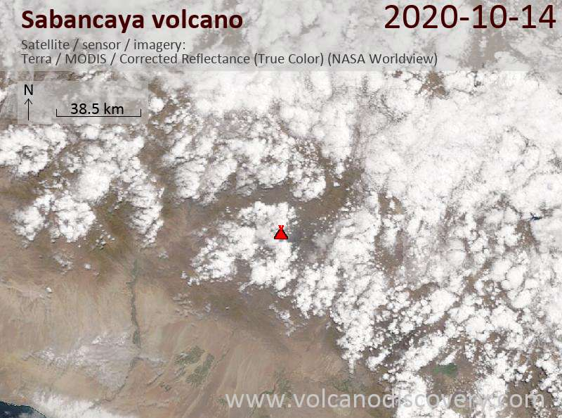Satellite image of Sabancaya volcano on 14 Oct 2020