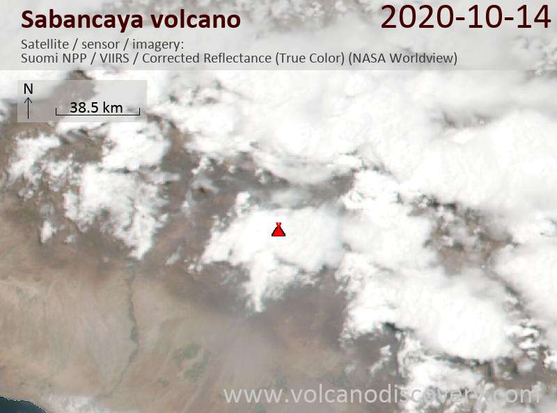 Satellite image of Sabancaya volcano on 15 Oct 2020