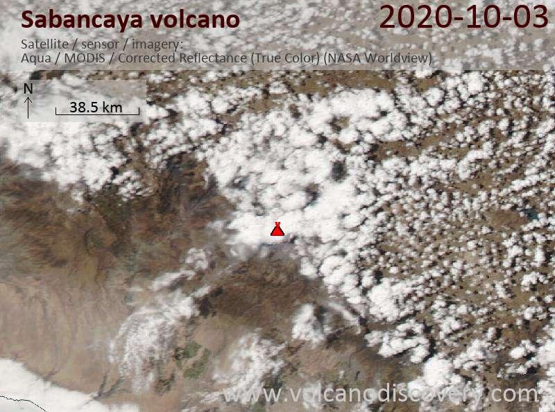 Satellite image of Sabancaya volcano on  4 Oct 2020