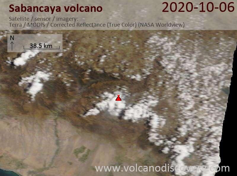 Satellite image of Sabancaya volcano on  6 Oct 2020
