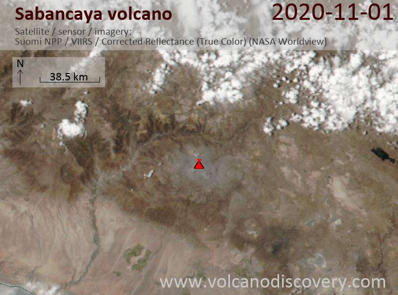 Satellite image of Sabancaya volcano on  1 Nov 2020