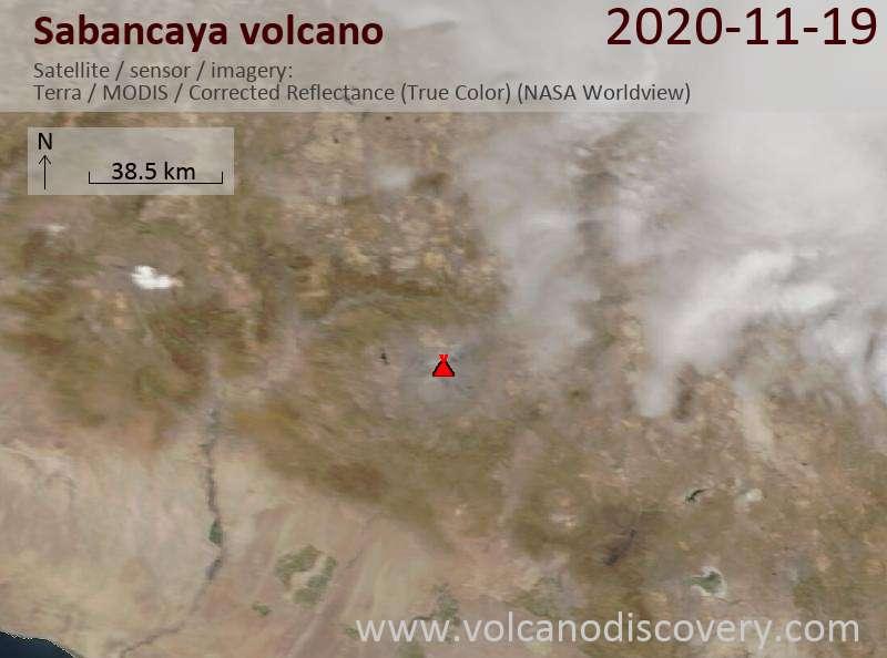 Satellite image of Sabancaya volcano on 19 Nov 2020