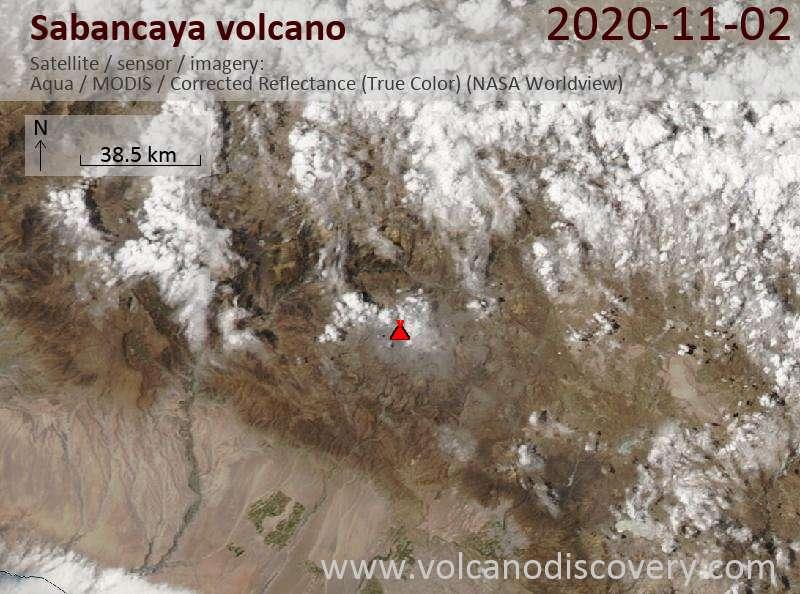 Satellite image of Sabancaya volcano on  2 Nov 2020