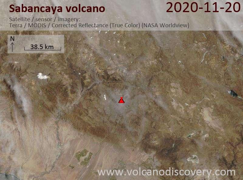 Satellite image of Sabancaya volcano on 20 Nov 2020