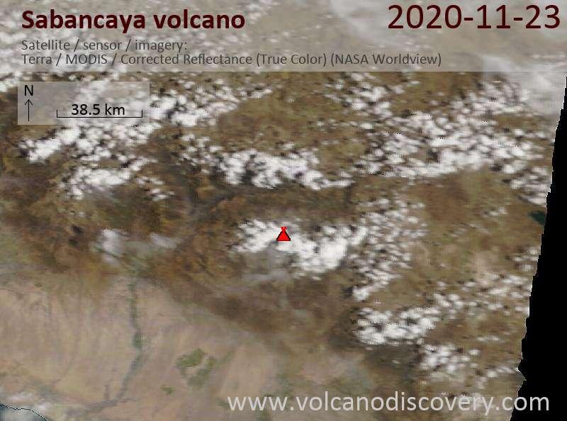 Satellite image of Sabancaya volcano on 23 Nov 2020