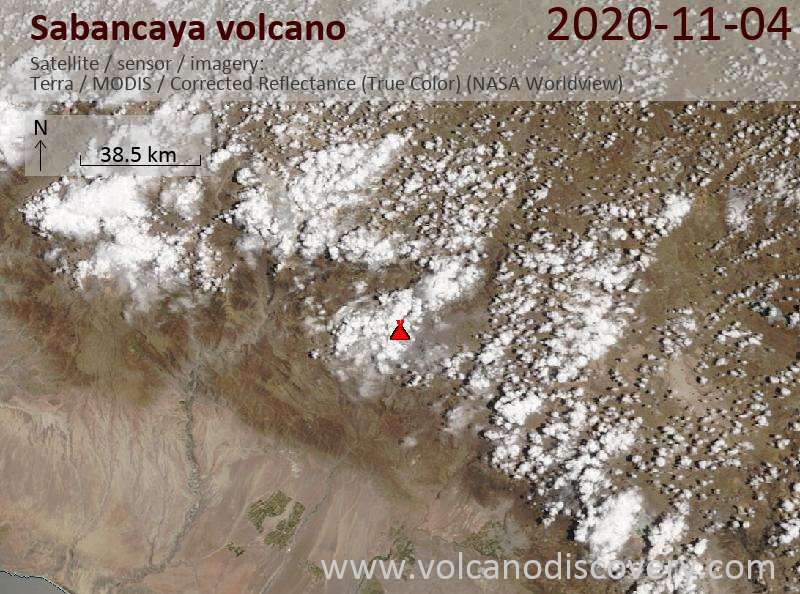 Satellite image of Sabancaya volcano on  4 Nov 2020