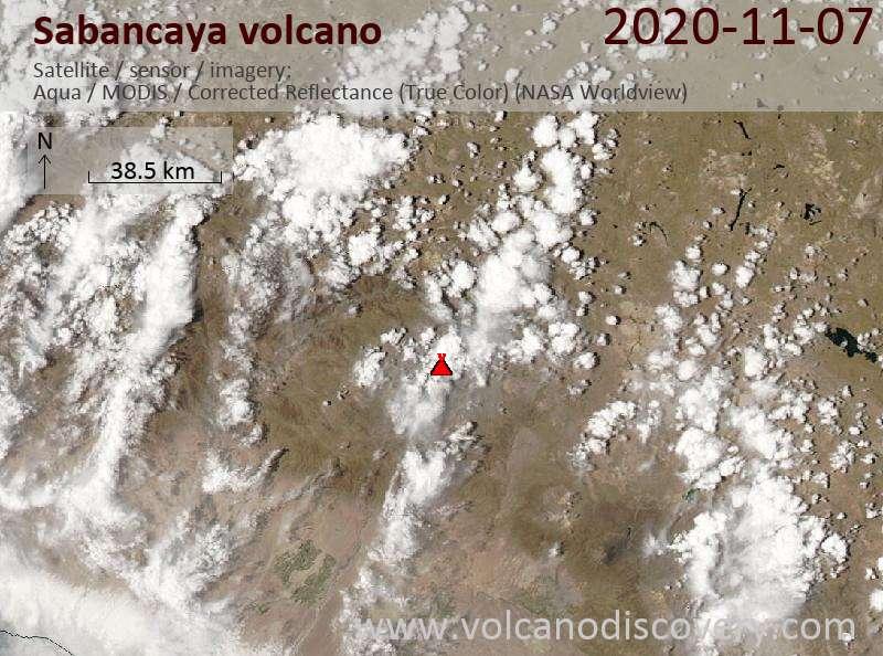 Satellite image of Sabancaya volcano on  8 Nov 2020