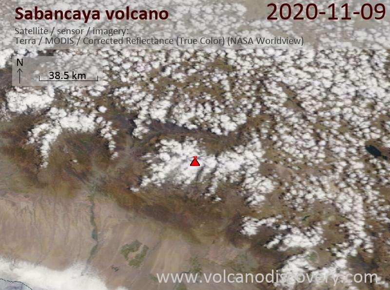 Satellite image of Sabancaya volcano on  9 Nov 2020