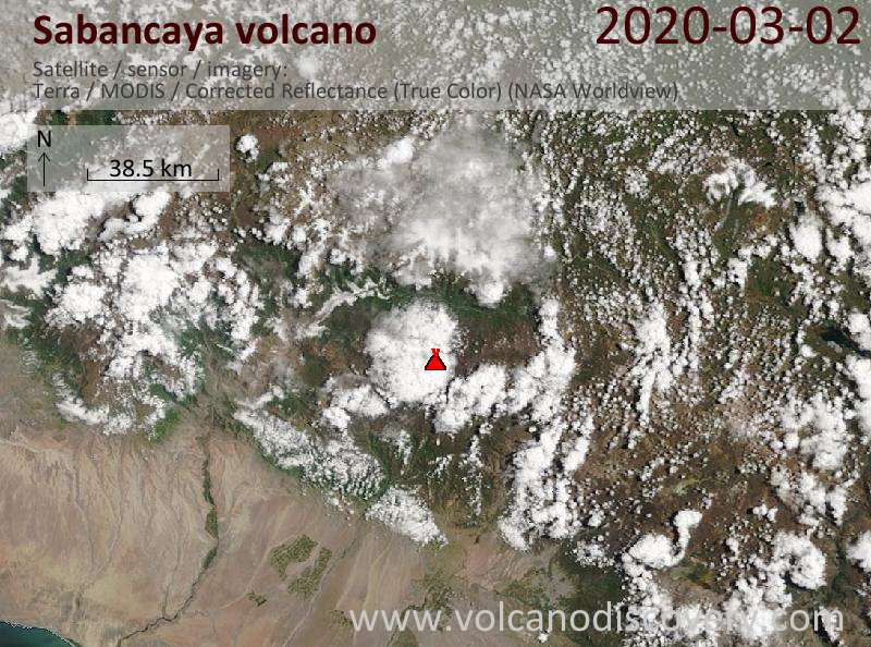 Satellite image of Sabancaya volcano on  2 Mar 2020