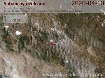 Satellite image of Sabancaya volcano on 10 Apr 2020