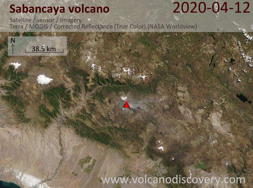 Satellite image of Sabancaya volcano on 12 Apr 2020