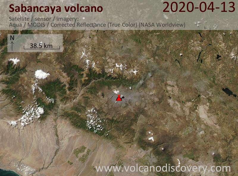 Satellite image of Sabancaya volcano on 14 Apr 2020