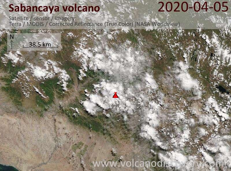 Satellite image of Sabancaya volcano on  5 Apr 2020