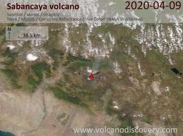 Satellite image of Sabancaya volcano on  9 Apr 2020