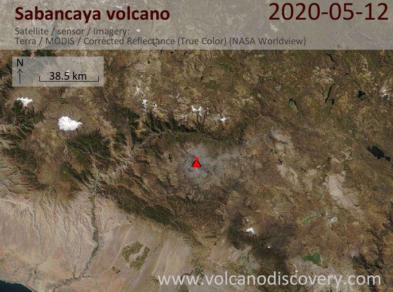 Satellite image of Sabancaya volcano on 12 May 2020