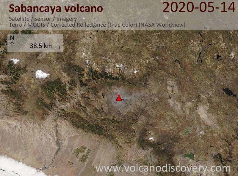 Спутниковое изображение вулкана Sabancaya 14 May 2020
