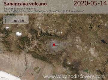 Satellite image of Sabancaya volcano on 14 May 2020