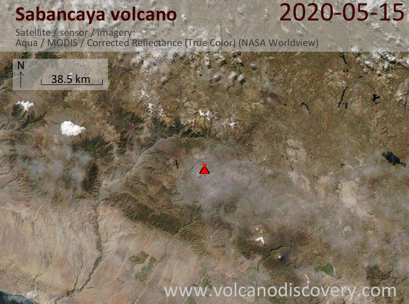 Спутниковое изображение вулкана Sabancaya 16 May 2020