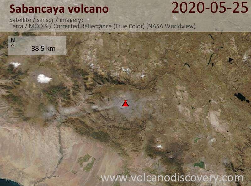 Спутниковое изображение вулкана Sabancaya 26 May 2020