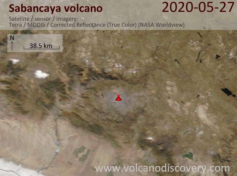 Спутниковое изображение вулкана Sabancaya 27 May 2020