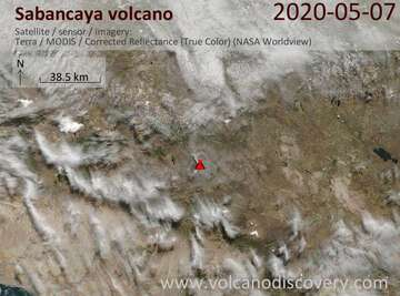 Satellite image of Sabancaya volcano on  7 May 2020