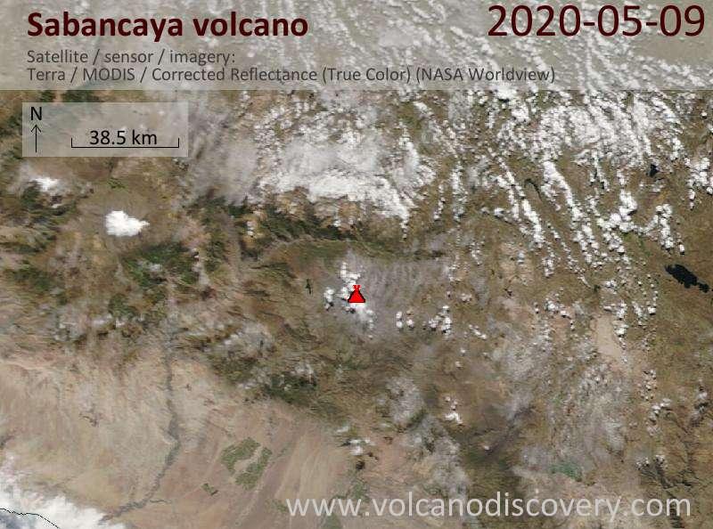 Satellite image of Sabancaya volcano on  9 May 2020