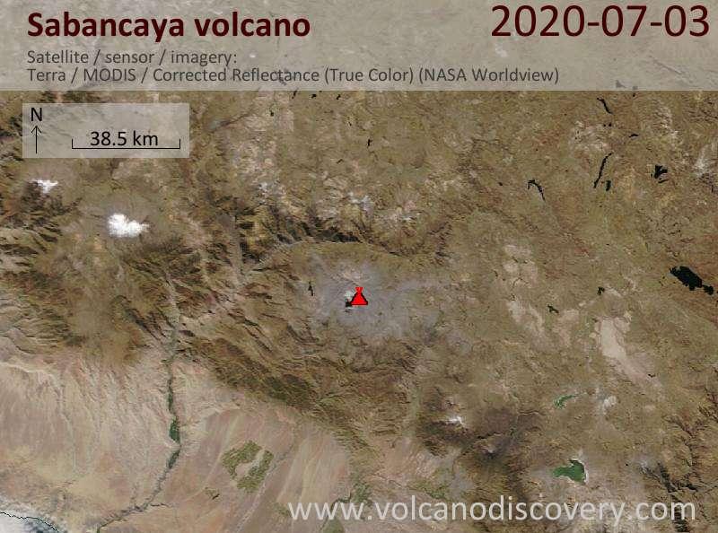 Спутниковое изображение вулкана Sabancaya  3 Jul 2020