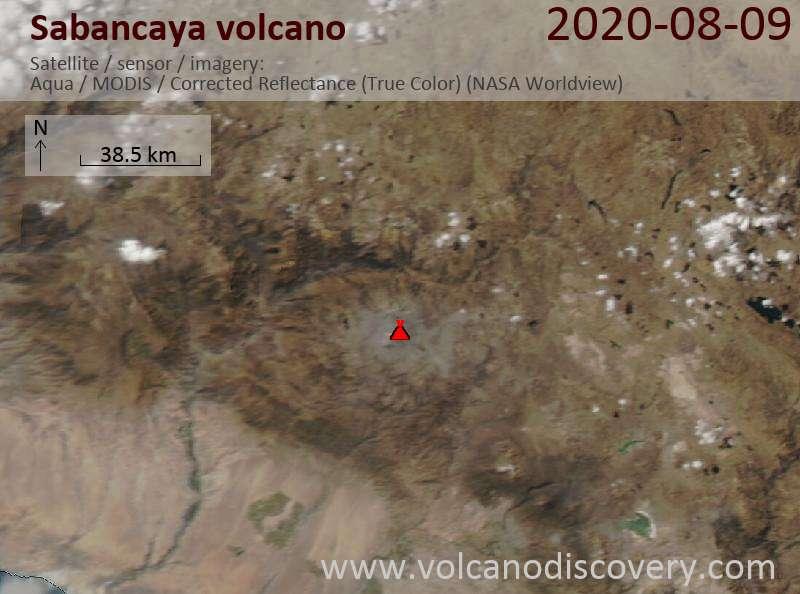 Спутниковое изображение вулкана Sabancaya 10 Aug 2020