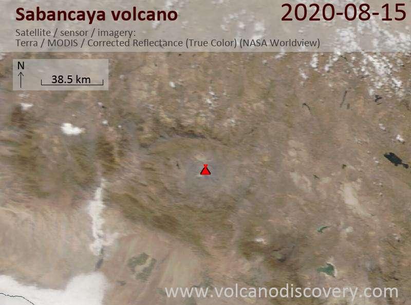 Satellite image of Sabancaya volcano on 15 Aug 2020