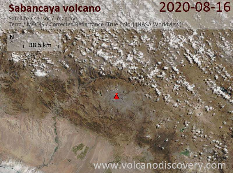 Satellite image of Sabancaya volcano on 16 Aug 2020