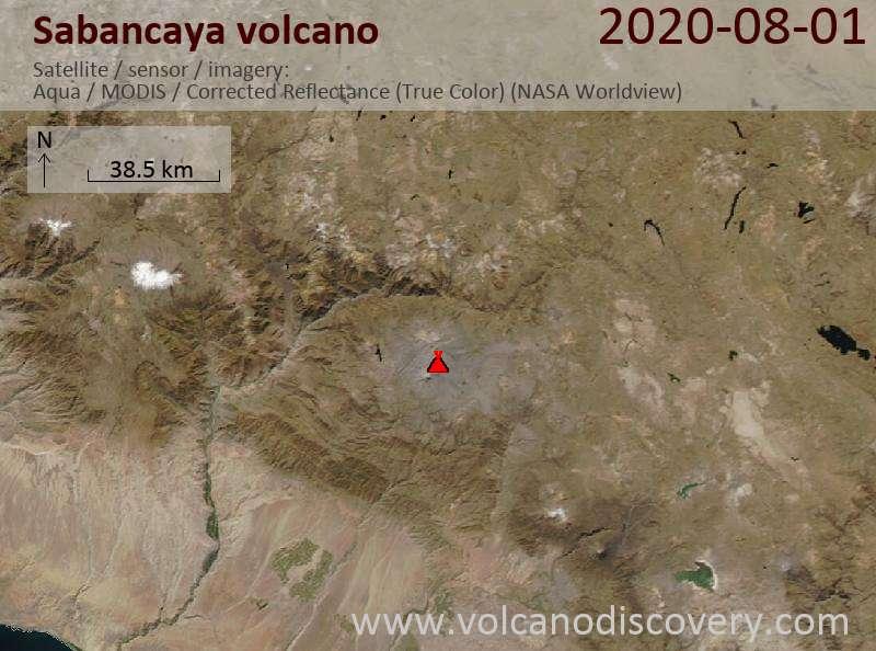 Satellite image of Sabancaya volcano on  2 Aug 2020