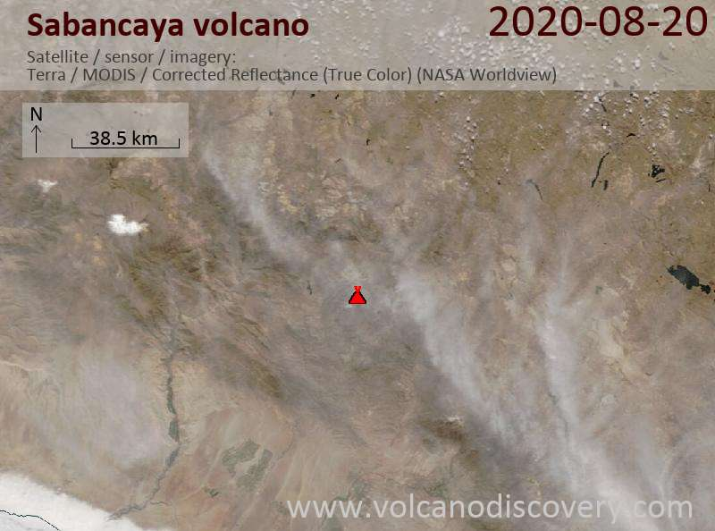 Satellite image of Sabancaya volcano on 20 Aug 2020