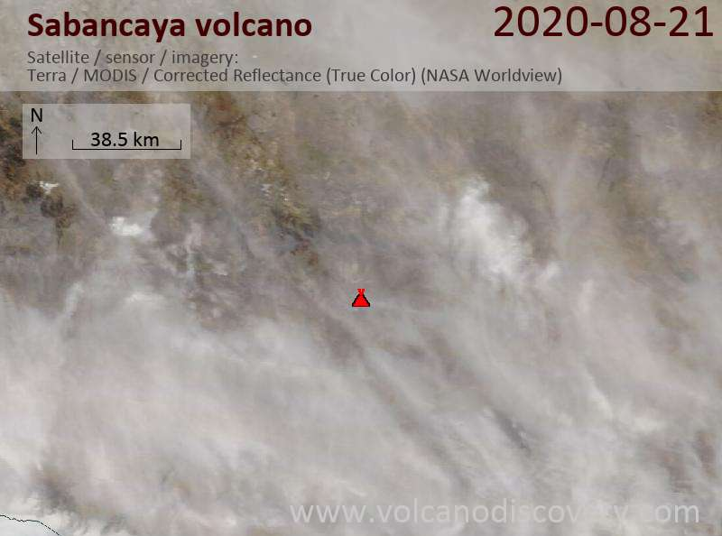 Satellitenbild des Sabancaya Vulkans am 21 Aug 2020
