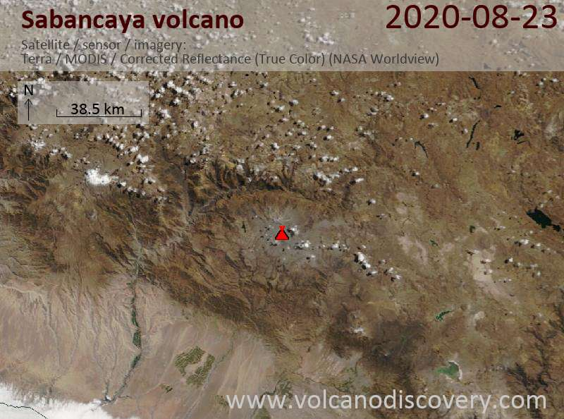 Satellite image of Sabancaya volcano on 23 Aug 2020
