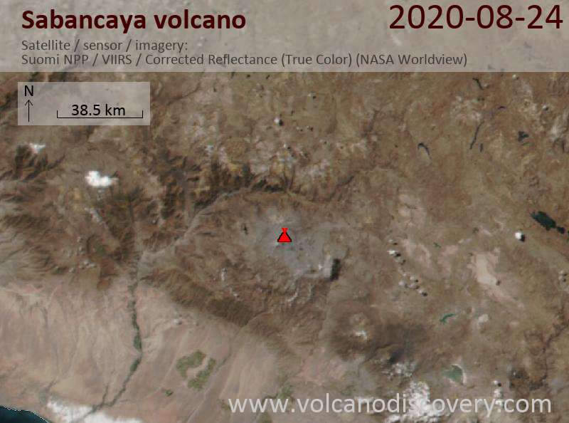 Satellite image of Sabancaya volcano on 24 Aug 2020