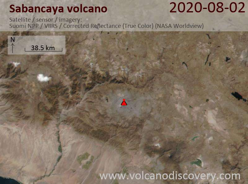 Satellitenbild des Sabancaya Vulkans am  3 Aug 2020