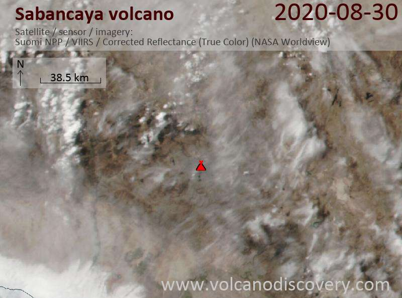 Satellitenbild des Sabancaya Vulkans am 31 Aug 2020
