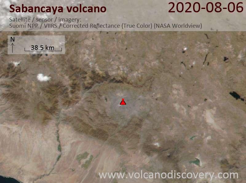 Satellite image of Sabancaya volcano on  7 Aug 2020
