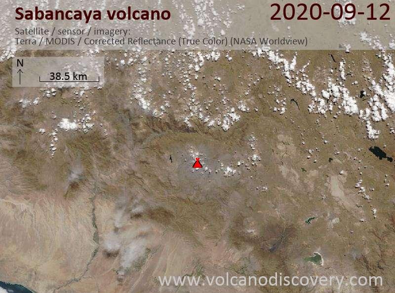 Satellitenbild des Sabancaya Vulkans am 12 Sep 2020