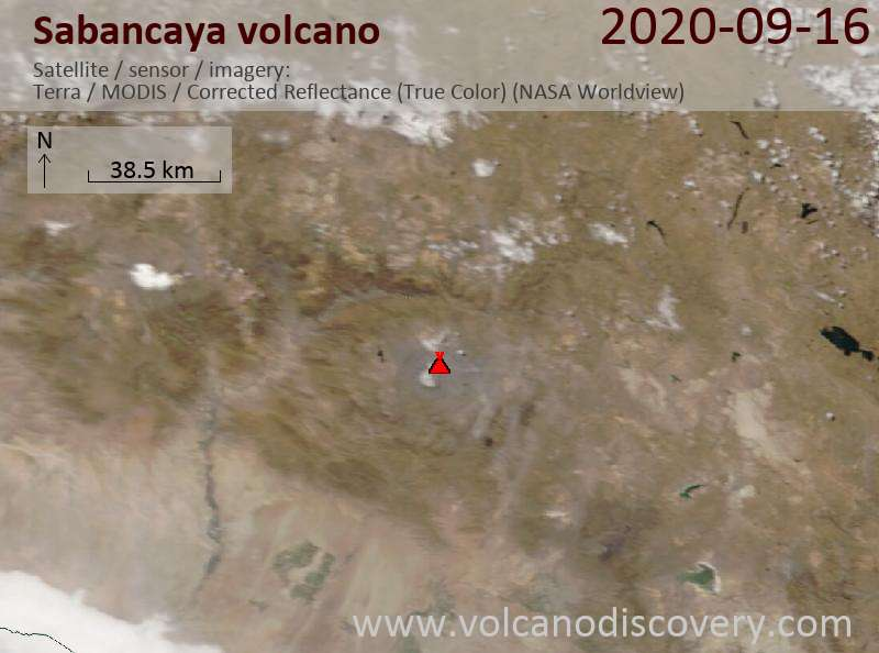 Satellite image of Sabancaya volcano on 16 Sep 2020