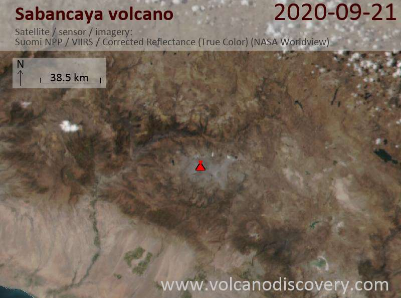 Satellite image of Sabancaya volcano on 22 Sep 2020