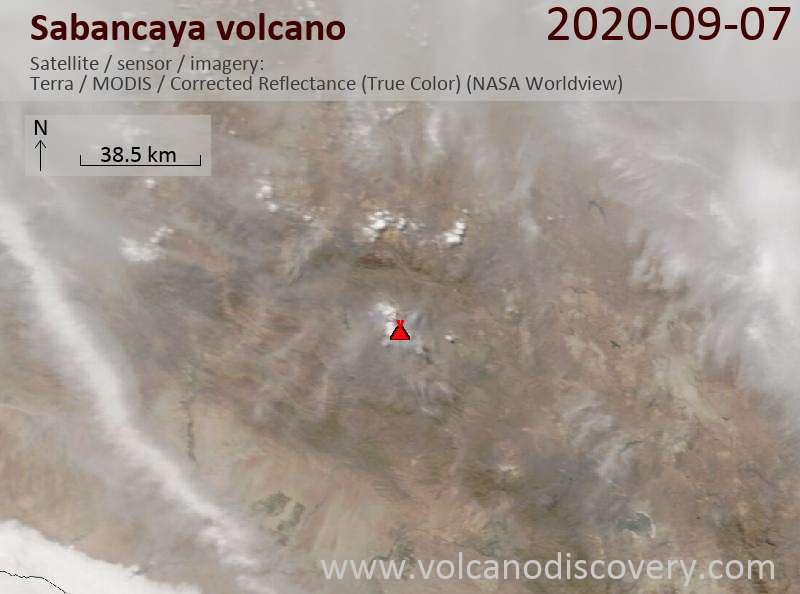 Satellite image of Sabancaya volcano on  7 Sep 2020