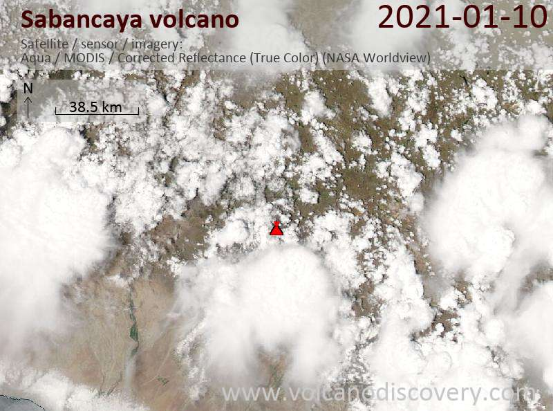Satellitenbild des Sabancaya Vulkans am 10 Jan 2021