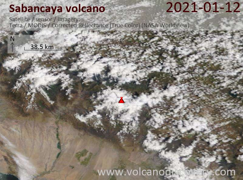 Satellite image of Sabancaya volcano on 12 Jan 2021