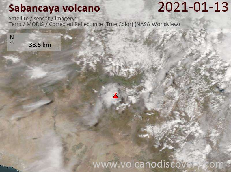 Satellitenbild des Sabancaya Vulkans am 13 Jan 2021