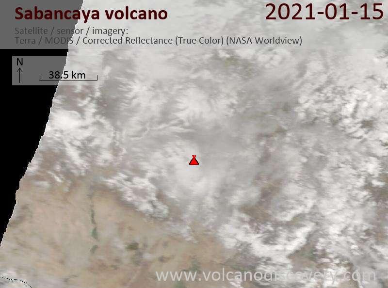 Satellite image of Sabancaya volcano on 15 Jan 2021