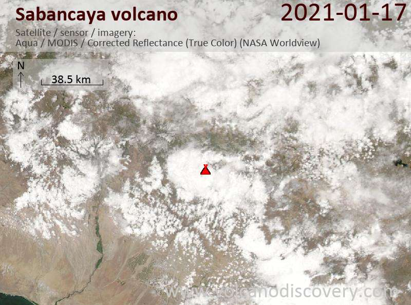 Satellite image of Sabancaya volcano on 17 Jan 2021
