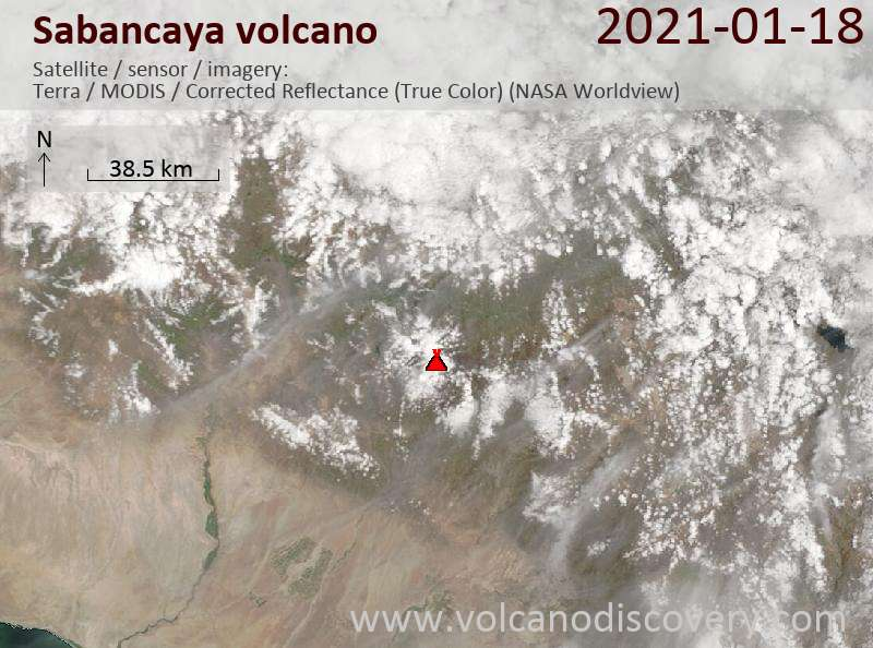 Satellite image of Sabancaya volcano on 18 Jan 2021